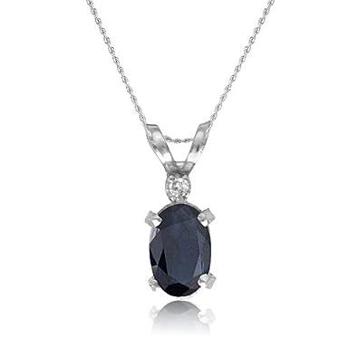 4d089d805ce Amazon.com: 14K White Gold Oval Sapphire and Diamond Pendant 18 ...