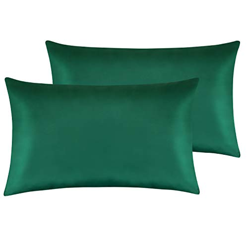 NTBAY Silky Satin Queen Pillowcases Set of 2, Super Soft and Luxury, Hidden Zipper Design, Dark Green, Queen Size