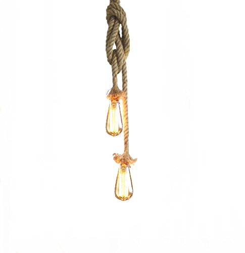 Lixada Vintage Seil Hängelampe 100cm(50cm+50cm)Pendelleuchte AC220V E27 (ohne Birne)
