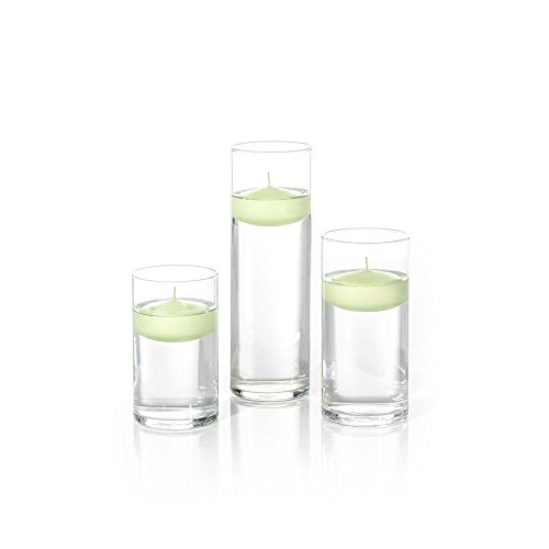 - Yummi Set of 18 Floating Candles and Cylinder Vases - Celery Green