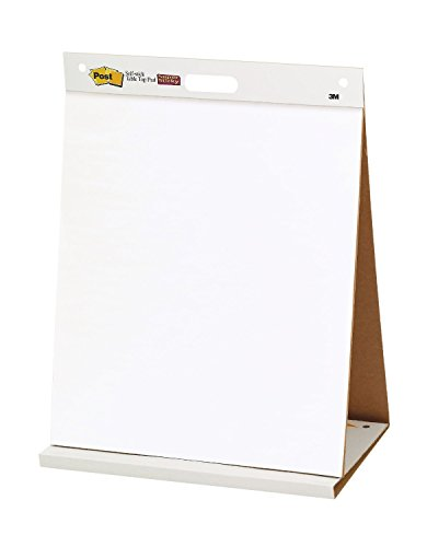 Easel Pad. Self-stick Tabletop Unruled Pad White 20 Sheets Chart Paper Post-it. Best For School, Office, Home, Educational Establishments & Small Group Activities. Resists Marker Bleed-through 20