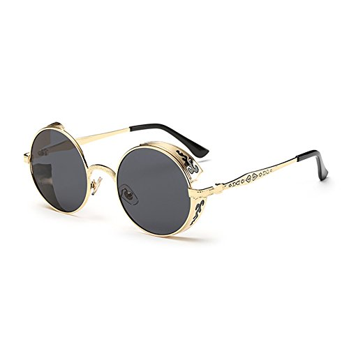 (Coolsunny Vintage Hippie Retro Metal Round Circle Frame Sunglasses CS1039 (New Gold-Gray, 51))