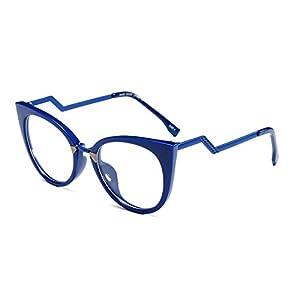 Slocyclub Women's Super Trendy Fashion Zigzag Temple Cat Eye Clear Lens Eyeglasses