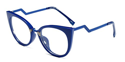 Slocyclub Women's Super Trendy Fashion Zigzag Temple Cat Eye Clear Lens - Blue Women For Eyeglasses