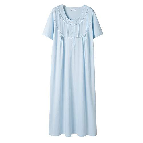 Keyocean Women's Nightgowns 100% Cotton Lace Trim Short Sleeve Solid Long Sleepwear for Women (L, Light Blue) (Night Long Short)