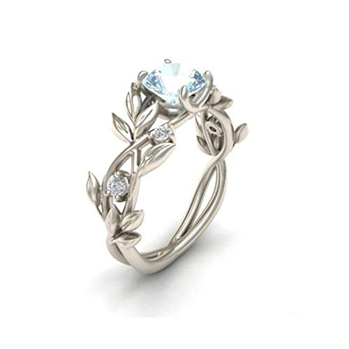 (HIRIRI Women's Silver Floral Transparent Diamond Flower Leaf Rings Wedding Engagement Gift (8, Silver))