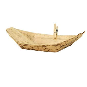 "PacknWood Bamboo Leaf Boat, 3.7"" x 2.3"" (Case of 2000)"