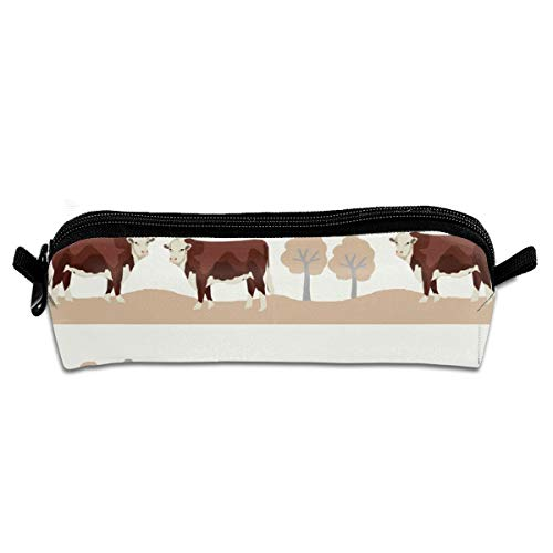 Hereford Farm Cow Pattern Cute Farm Animals BeigePencil Bag Pen Case Pen Pencil Stationery Pouch Bag Case PU Leather Small Pencil Pouch for Students Children