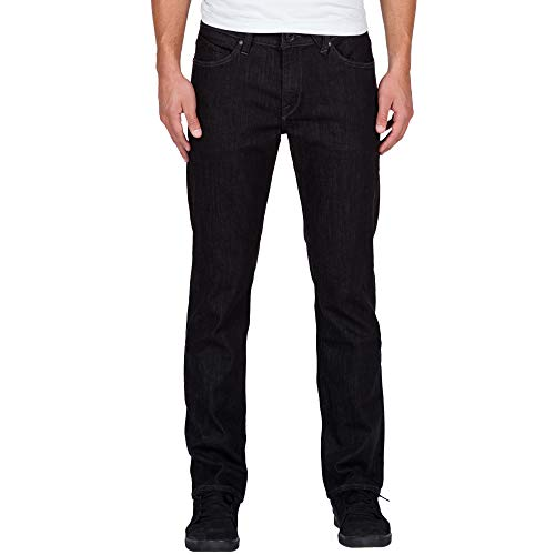 Volcom Men's Solver Stretch Denim Jean, Black Rinser, - Jean Zip Volcom Black