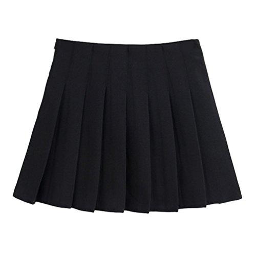Courte Noir Heheja Patineuse Elastique vase Taille Femmes Couleur d'cole Jupe Unie Haute Plisse Mini Kilt Jupes ZaRBUnZOq