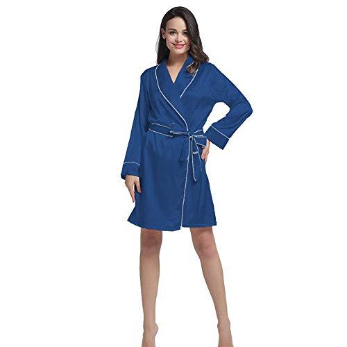 Señoras Kimono Hielo Camisón De Manga Mujeres Clásico Albornoz Encaje Azul Anti Seda Pijamas Larga Correa qFznqr