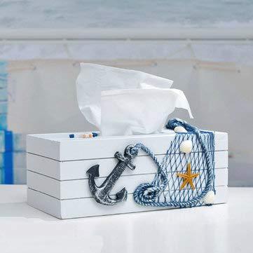 Mediterranean Style Blue And White Tissue Boxes Paper Napkin Box - Decorative Crafts Furnishing Articles - (Black) - 1pcs X Tissue Box -