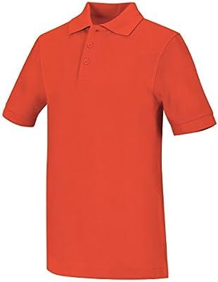 Classroom Big Boys Uniform Pique Short Sleeve Polo,Orange,Medium