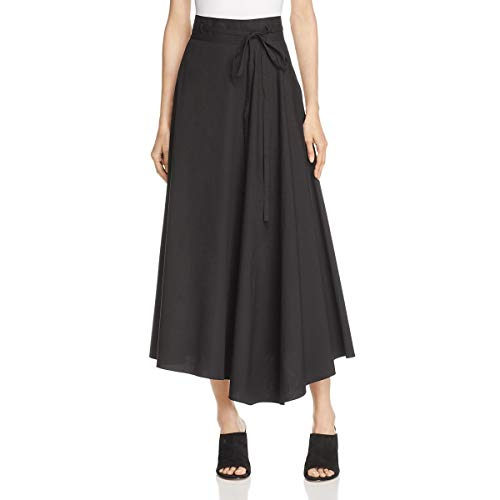 Theory Womens Jaberdina Poplin Asymmetric Midi Skirt Black 00