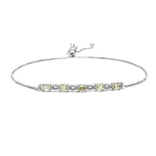 925 Sterling Silver Platinum Plated Oval Mint Garnet Bolo Tennis Bracelet for Women Cttw -