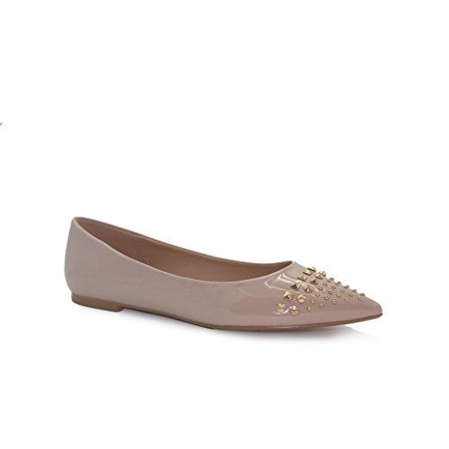 V 1969 Italia Womens MIA Vegan Patent Leather Studded Ballet Flat (See More Sizes)