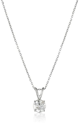 IGI Certified 14k White Gold Round-Cut Diamond Solitaire Pendant Necklace (1cttw, H-I Color, I1-12 Clarity), 18""