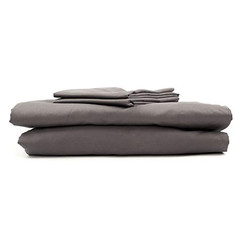 Atelier Home Linen 4-Piece Bedding Sets – 100% Cotton Bed Sheets and Pillow Covers – Hotel Luxury 600 Thread Count Sateen Weave – Non- Wrinkle, No Fade, Deep Pockets to Fit Mattress – King – Dark Gray