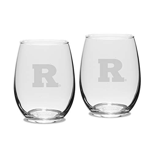 (NCAA Rutgers Scarlet Knights Adult Set of 2 - 15 oz Stemless Wine Glass Deep Etched Engraved, One Size, Clear)