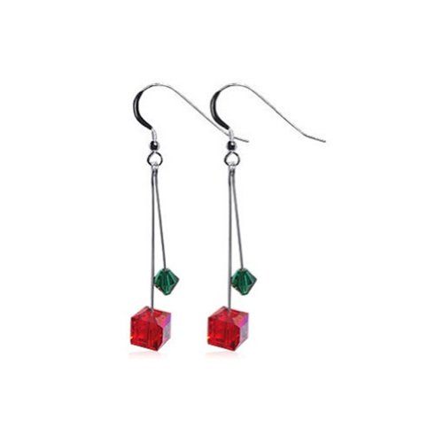 Gem Avenue 925 Sterling Silver Diagonal Cube Shape Swarovski Elements Crystal Handmade Drop Earrings for Women ()