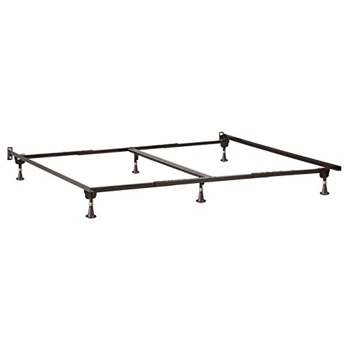 Pemberly Row Adjustable Metal Bed Frame with Glides