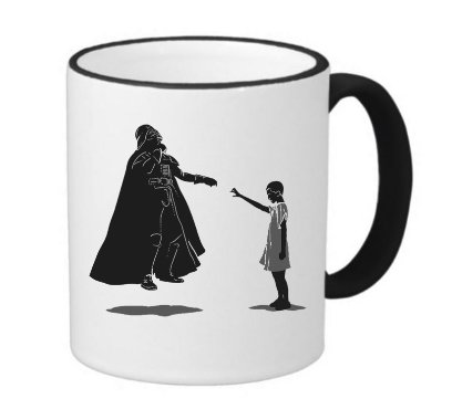 (Funny Fan Made Eleven VS Vader Art 11 ounce Black Rim/Handle Ringer Ceramic Coffee Mug Tea Cup by MWCustoms)