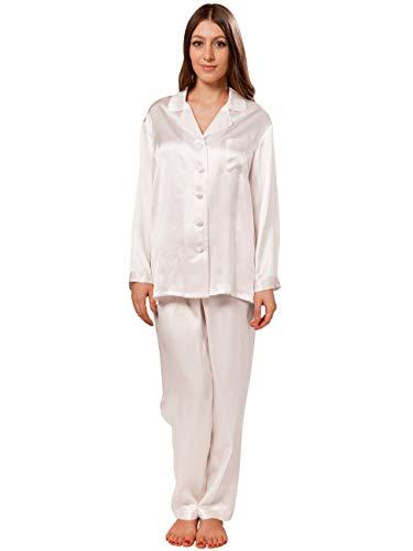 dcc5228af0785 ElleSilk Women's Pajamas, 22 Momme, 100% Silk Pajama Set, White, ...