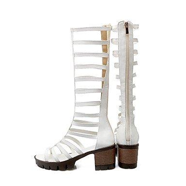 LvYuan Mujer-Tacón Robusto-Confort Innovador Zapatos del club Zapatos agujero-Sandalias-Vestido Informal-Semicuero-Negro Amarillo Rojo Blanco Black