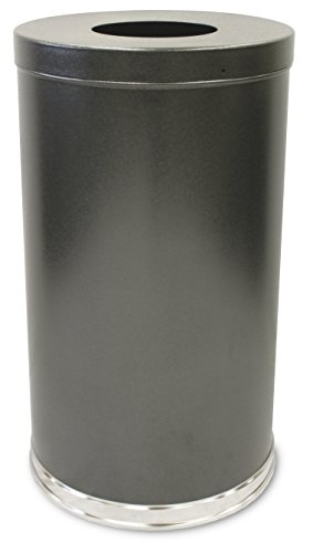 "Witt Industries 35FTSVN Steel 35-Gallon Open Top Waste Receptacle with Plastic Liner, Round, 18"" Diameter x 33"" Height, Silver"