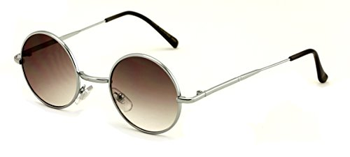 (Casual Fashion Small Round Circle Thin Metal Frame Unisex Sunglasses Lennon (Silver - gradient lens))