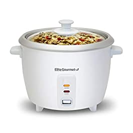 Elite Gourmet ERC-003 Electric Rice Cooker with Automatic Keep Warm Makes Soups, Stews, Grains, Hot Cereals, 6 Cups…