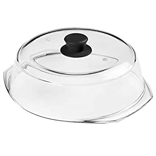 Bezrat Microwave Tall Glass Plate Cover | Splatter Guard Lid with Easy Grip Silicone Handle Knob | 100% Food Grade | BPA Free and Dishwasher Safe | Fits Plates and Bowls 10 x 3 inches (Black)