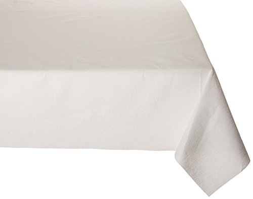 Premium Disposable Rectangle Paper tablecloth 54 x 102, 3 Ply Cloth-Like Tablecover White 1 - Poly Cover Table Lined