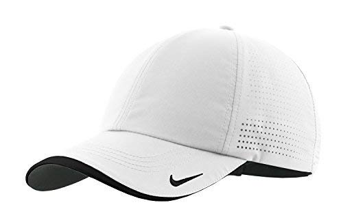 Nike Authentic Dri-FIT Low Profile Swoosh Embroidered Perforated Baseball Cap - White]()