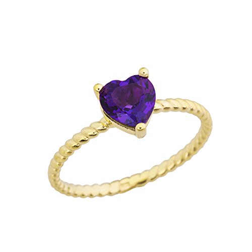 Dainty 14k Yellow Gold Heart-Shaped Amethyst Solitaire Rope Engagement/Promise Ring (Size 4.5)