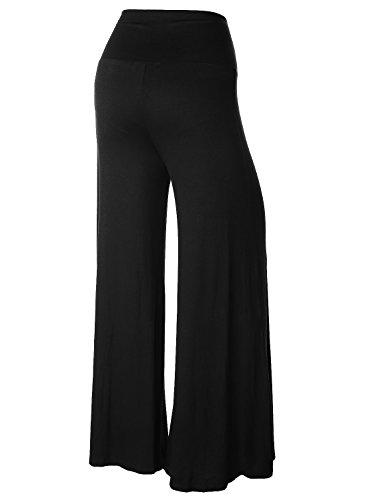 BAISHENGGT Mujer Pantalones Largos de Pernera Ancha para Yoga Negro