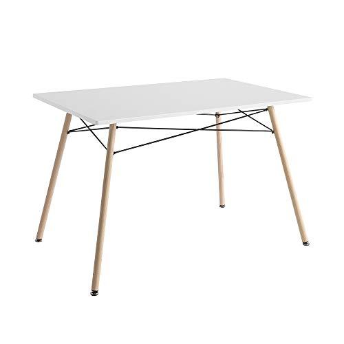 Mesa de Comedor - Modelo Ana - Color Blanco/Haya - Material MDF/Metal - Medidas 120 x 80 x 74 cm