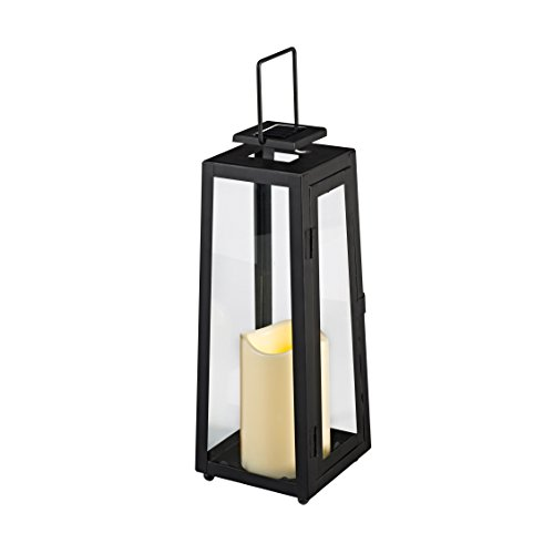 Black Metal Solar Powered LED Garden Flameless Candle Lantern (Garden Lanterns For Candles)