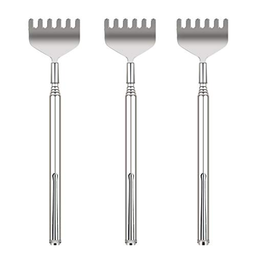 Updated 6 Tooth Back Scratcher, OHFUN 3 Pack Portable Extendable Telescopic Metal Back Scratchers/Hand Massager with Pocket Clip for Thanksgiving, Birthday, Christmas Gifts (Style 1) -