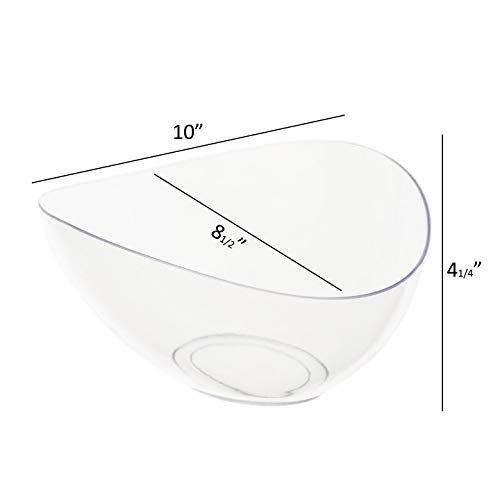 Plastic Serving Bowls Disposable Party Snack Bowls Large Clear Angled Bowls For Parties, Buffet, Chips, Salads, Fruits…