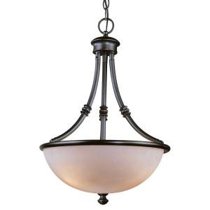 Hampton Bay Stanton Hills Collection 3-Light 95-1/4 in. Hanging Sable Bronze Patina Bowl (Stanton 3 Light Pendant)