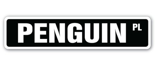 [SignJoker] PENGUIN Street Sign artic antartic north pole igloo animal Wall Plaque Decoration
