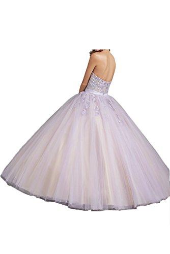 Herzform Ball Ivydressing Rueckenfrei Lilac Satin Partykleid Applikation Ballkleid Strass Damen Tuell romantisch bodenlang Gown Abendkleid aermellos rHqyUHAXw