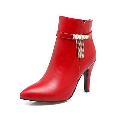 Heart&M Mujer Zapatos PU Otoño Invierno Confort Botas Tacón Stiletto Dedo Puntiagudo Cremallera Cadena Para Negro Beige Marrón Rojo red