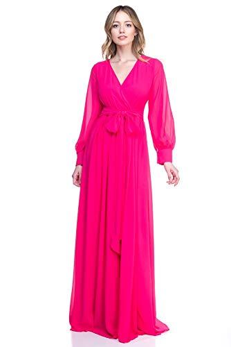 RICARICA Chiffon Maxi Dress (Solid Magenta, - Magenta Chiffon