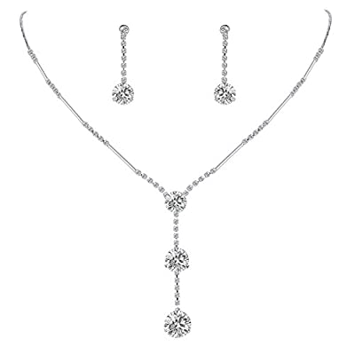 EleQueen Women's Full Cubic Zirconia Long Ball Round Bridal Y-Necklace Earrings Set
