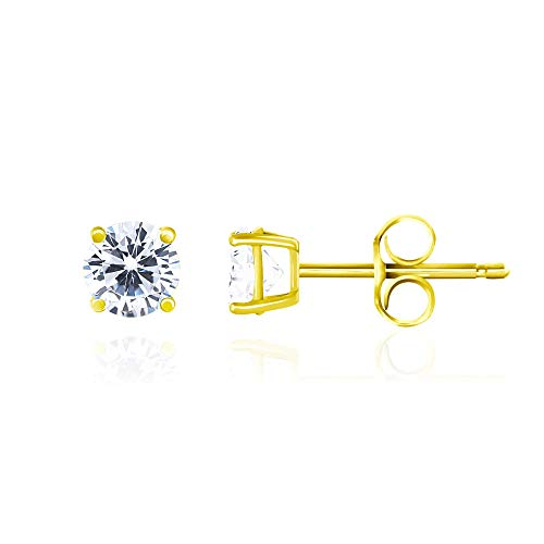 14k Yellow Gold Plated 925 Sterling Silver Cubic Zirconia Classic Basket Prong Set Eternity Stud Earrings, 4mm