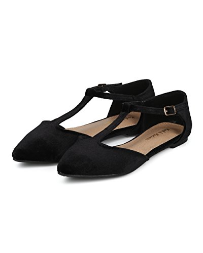 Alrisco Women T-Strap Ballet Flat - Pointy Toe Flat - Casual Dressy Everyday Flat - HC15 by Mark Maddux Collection Black Velvet lwH3t