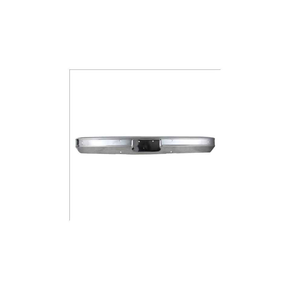CarPartsDepot, Pickup Truck Rear Bumper Face Bar Chrome Steel without Impact Strip Hole/Bracket, 341 15114 10 6272560 GM1002257