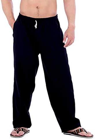 [해외]남성용 바지 캐주얼 면 린넨 긴 바지 탄력 허리 배기 가벼운 바지 포켓 포함 / Men`s Pants Casual Cotton Linen Long Trouser Elastic Waist Baggy Lightweight Pants with Pocket Black
